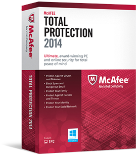 mcafee total protection 2014 3 users product key card mcafee