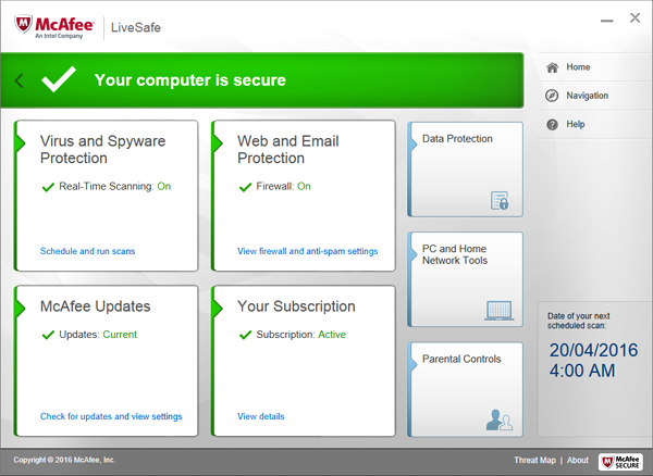 McAfee LiveSafe 30 days Trial Screen shot