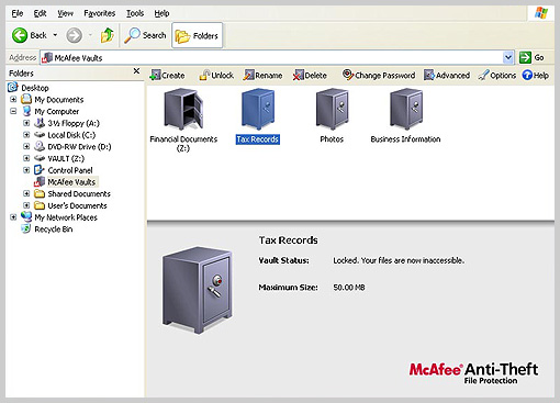 Screenshot of McAfee Anti-Theft
