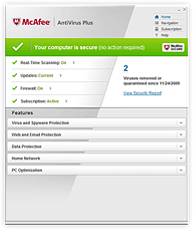 Screenshot McAfee AntiVirus Plus 2010