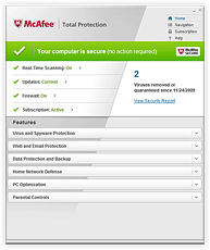 Screenshot McAfee Total Protection 2011