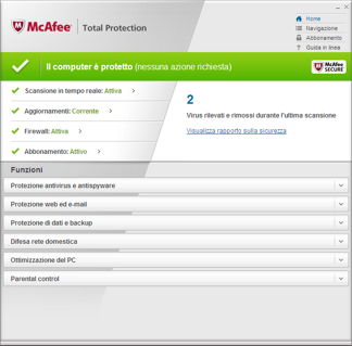 MTP Home Protezione totale del PC : McAfee Total Protection.