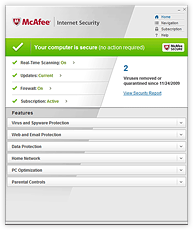 Screenshot McAfee Internet Security 2010