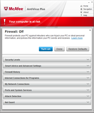 McAfee AntiVirus Plus Screenshot