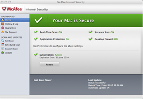 Screenshot of McAfee Internet Security for Mac